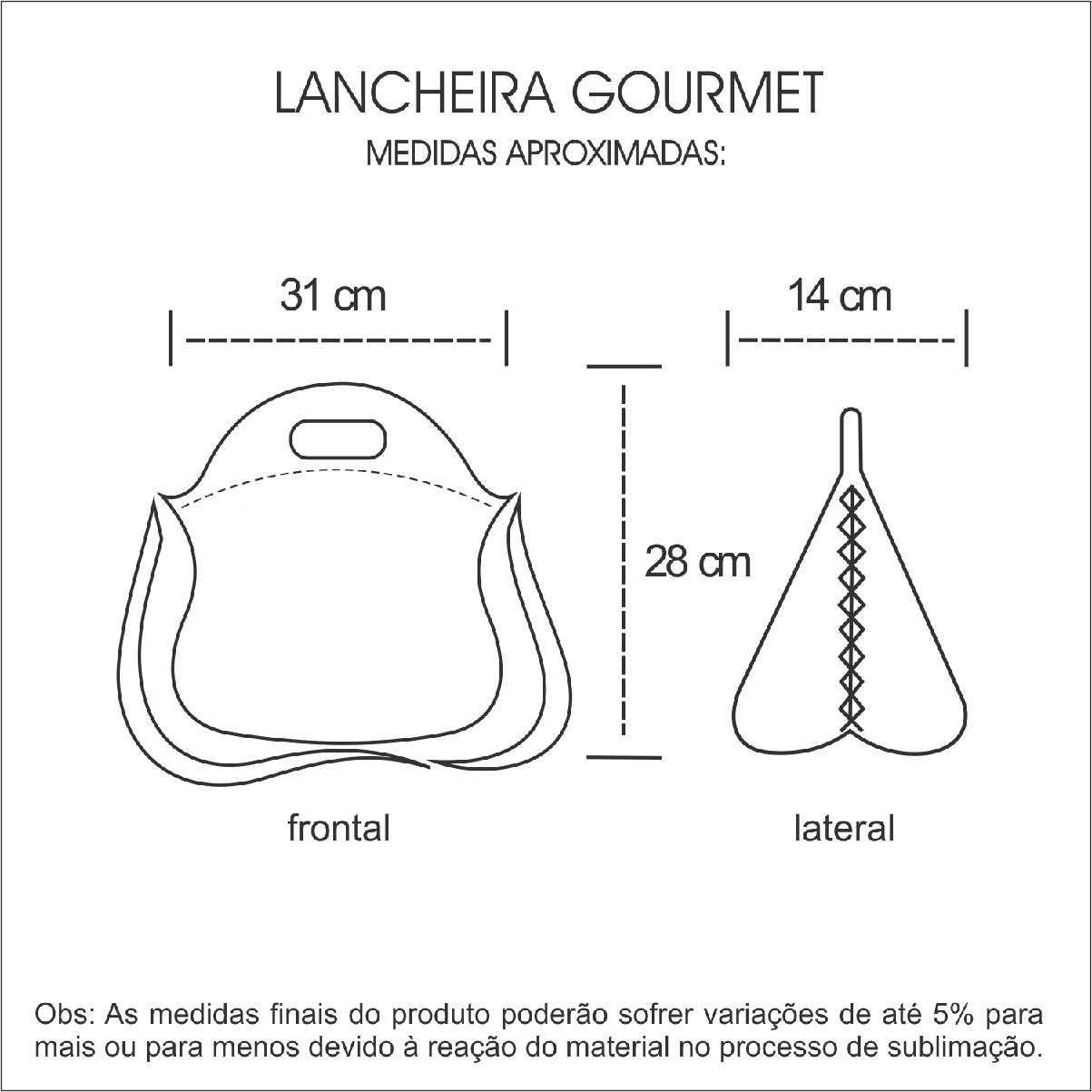 Medidas Lancheira Gourmet em Neoprene Personalizada