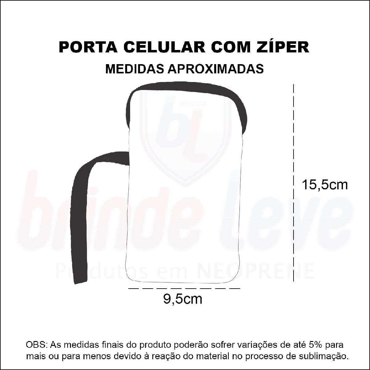 Medidas Porta Celular com Zíper Personalizado