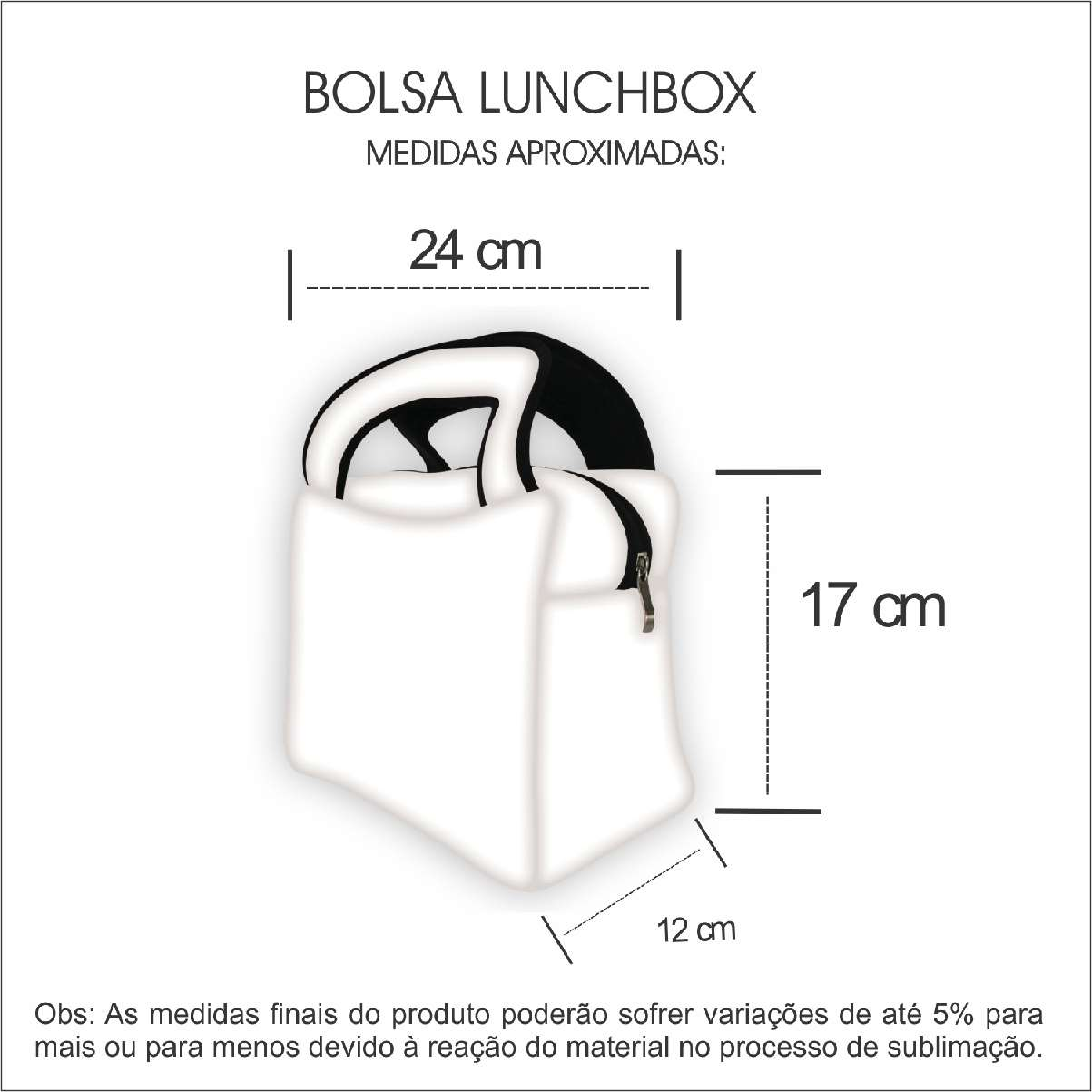 Medidas Lunch Box em Neoprene Personalizada