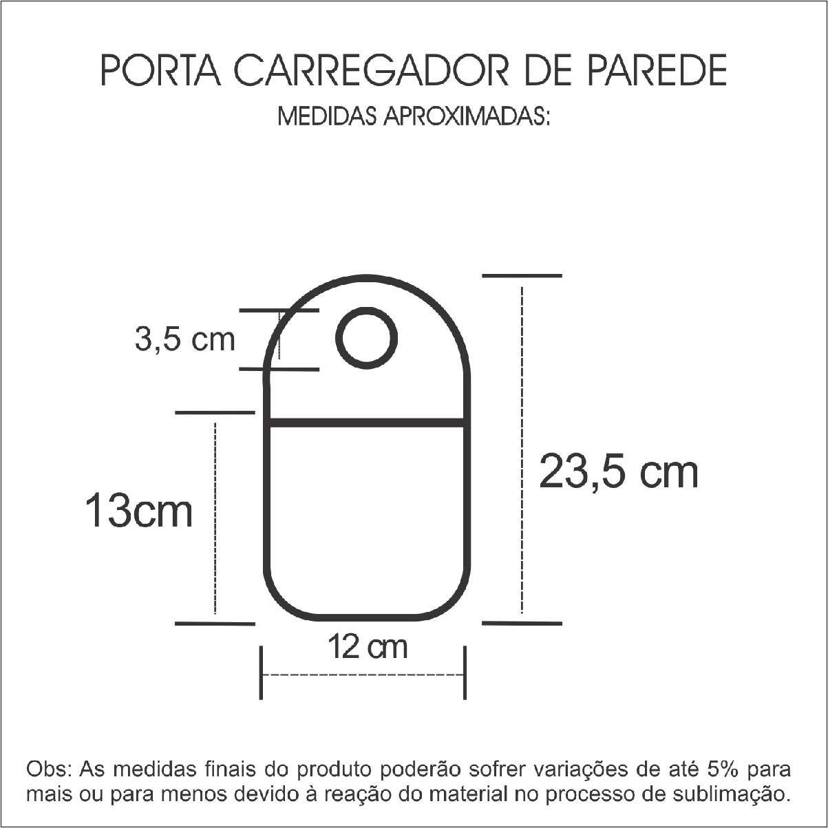 Medidas Porta Carregador de Celular Personalizado