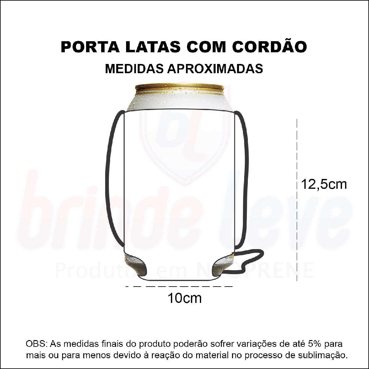 Medidas Porta latas com cordão Personalizado