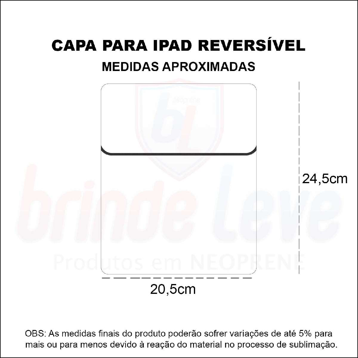 Medidas Capa para iPad Reversível Personalizada