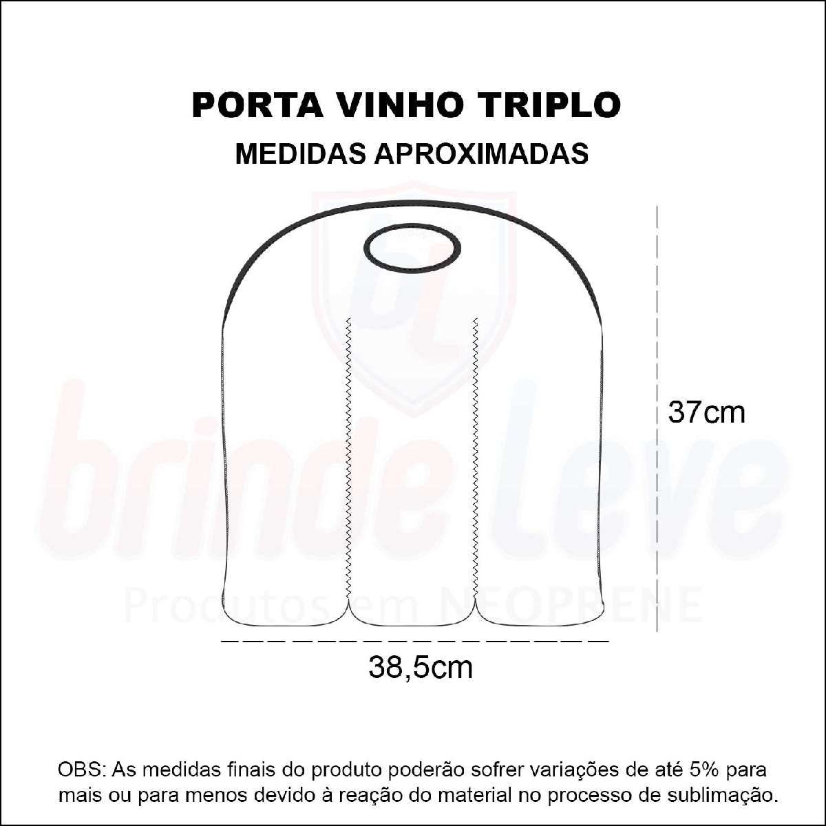 Medidas Porta Vinho Triplo Personalizado