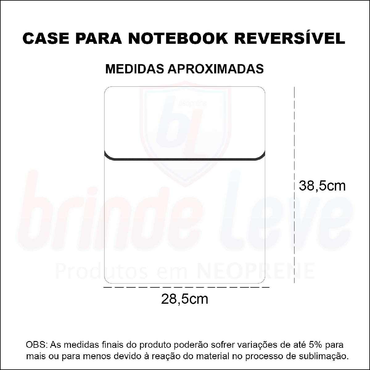 Medidas Case para Notebook Reversível Personalizado
