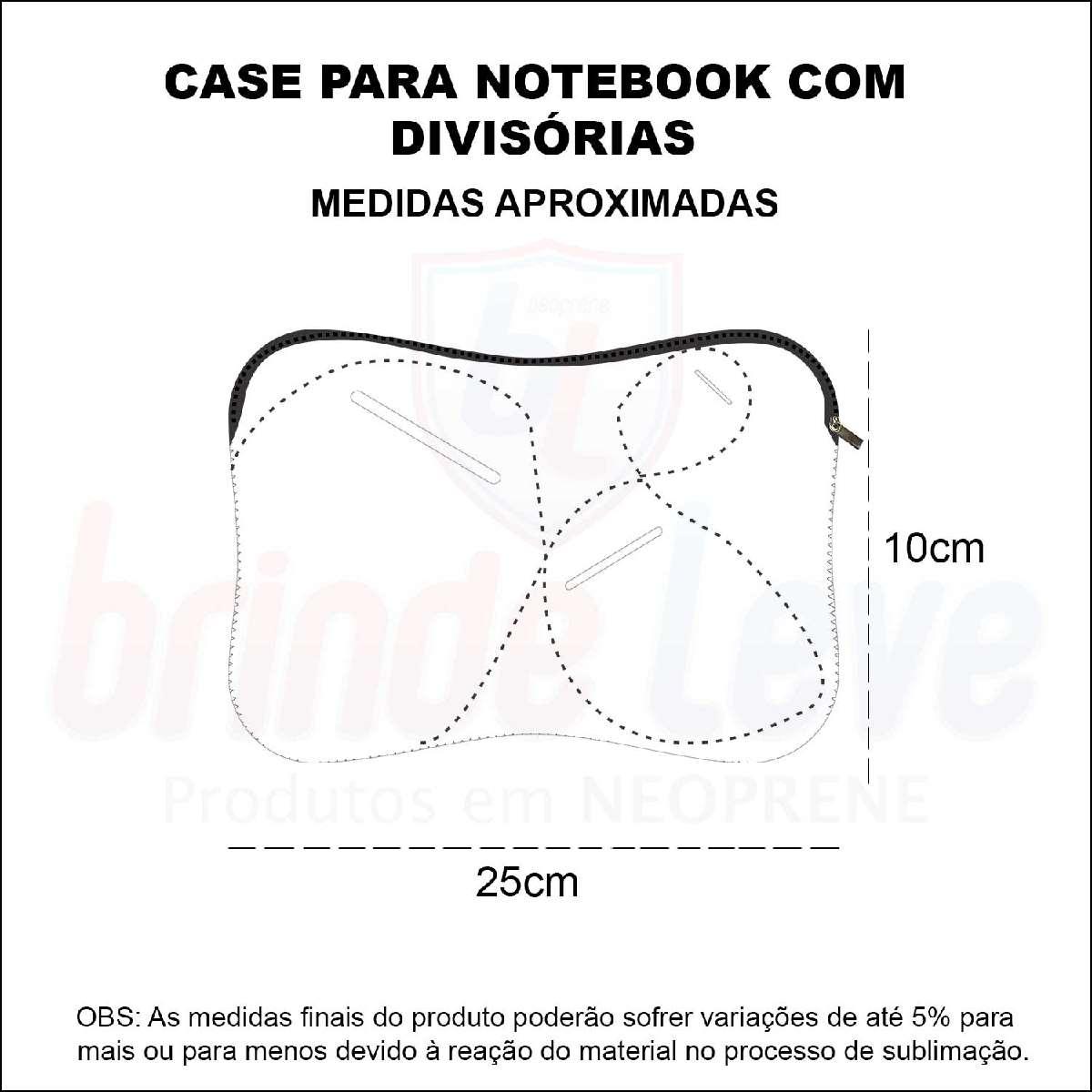 Medidas Capa para Notebook com Divisórias Personalizada