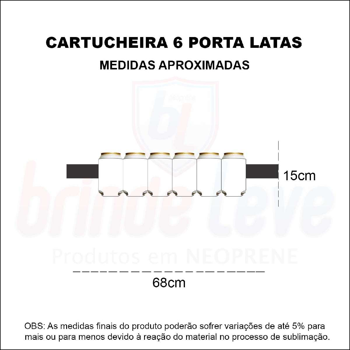 Medidas Cartucheira Cinto Porta Lata Personalizado 6 Latas