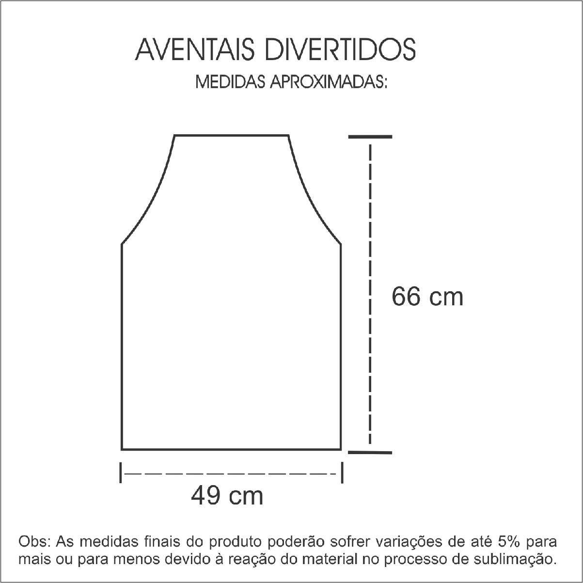 Medidas Avental Personalizado em Isoflex