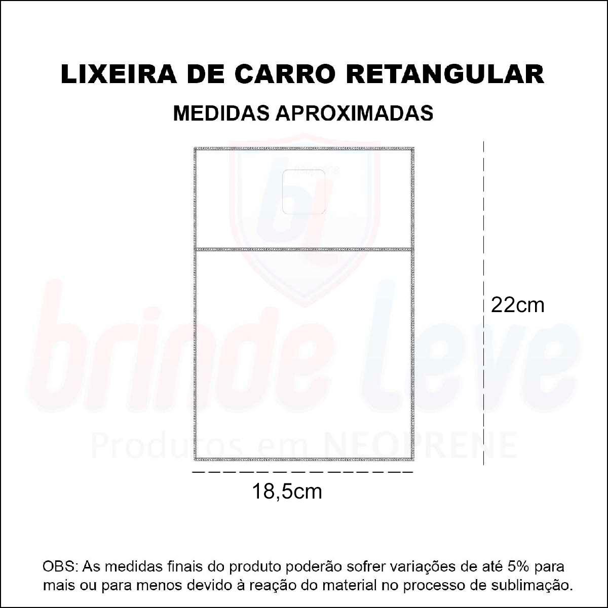 Medidas Lixeira de Carro Retangular Isoflex Personalizada