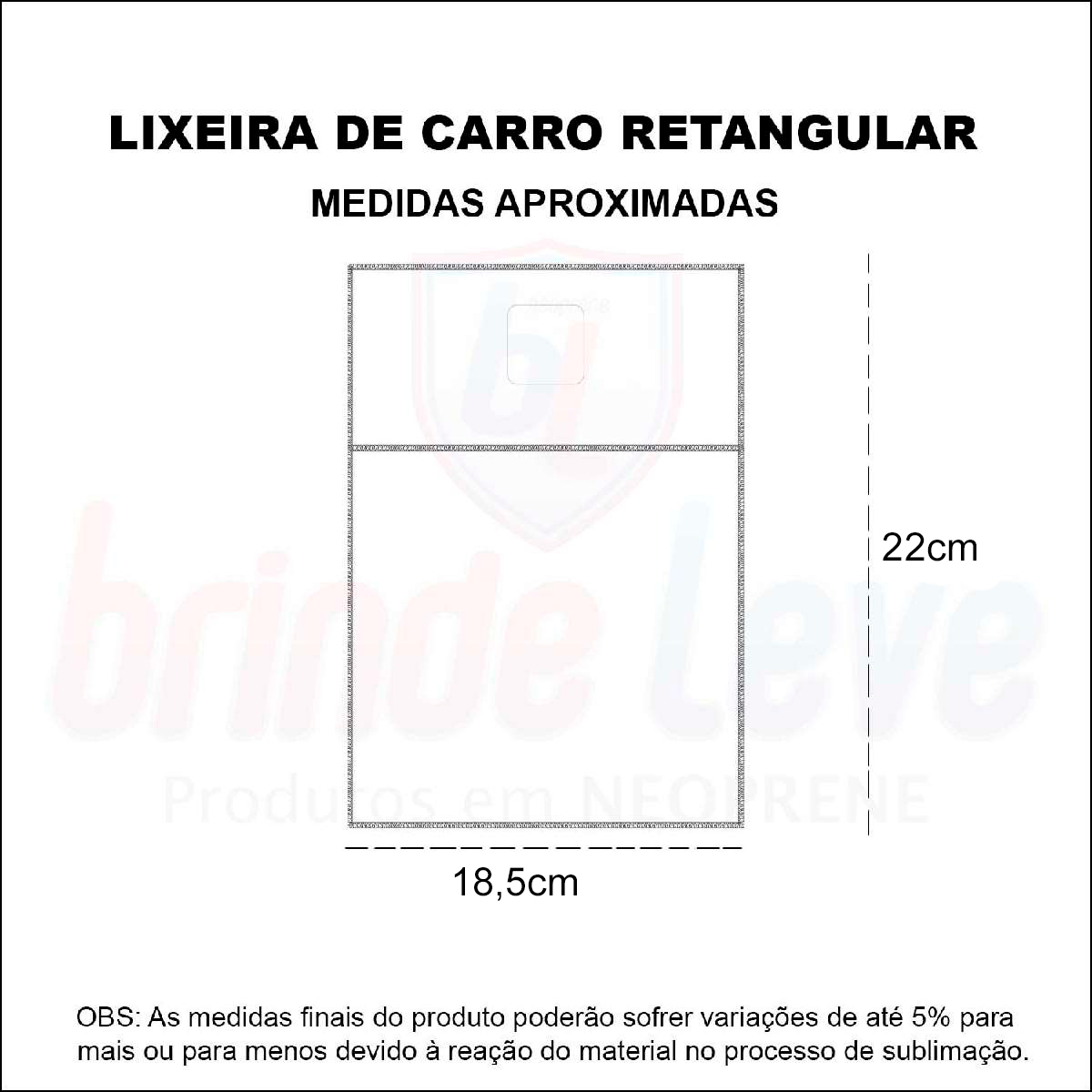 Medidas Lixeira para Carro Retangular Personalizada
