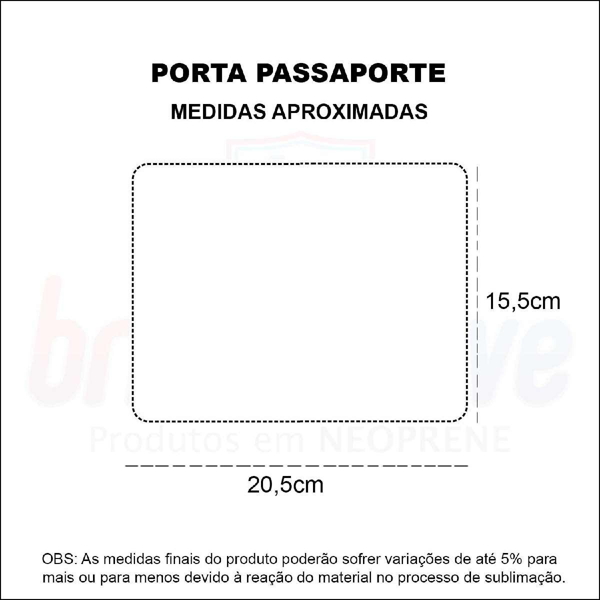 Medidas Porta Passaporte Personalizado