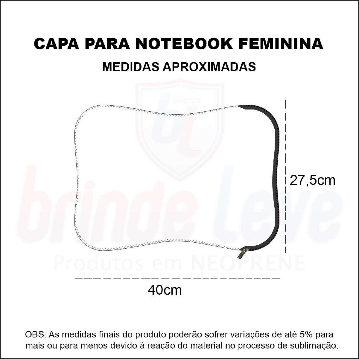 Medidas Capa para Notebook Feminina Personalizada