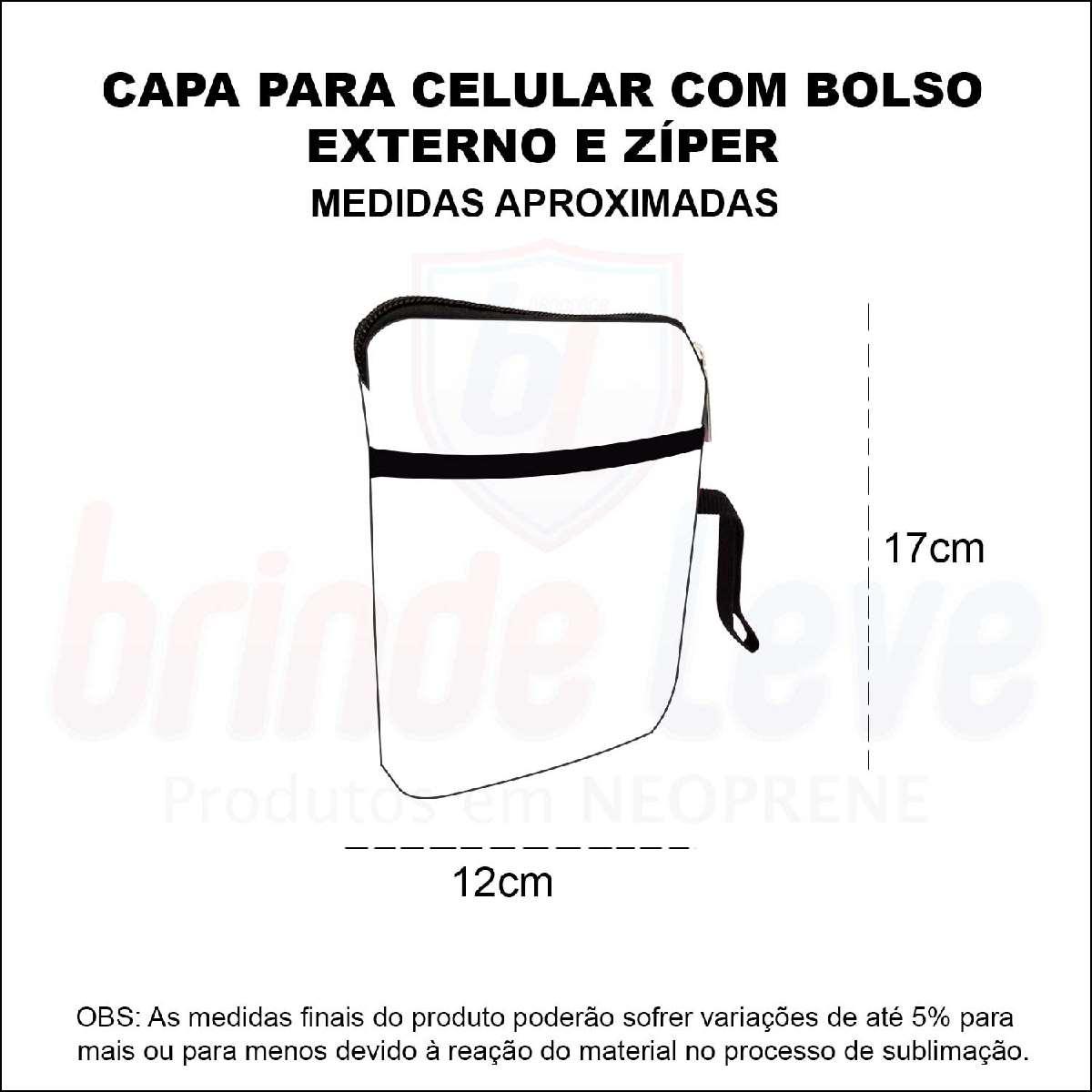Medidas Capa para Celular com Bolso e Zíper Personalizada