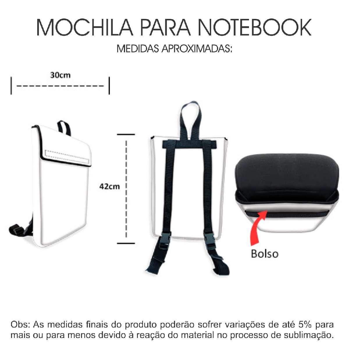 Medidas Mochila Notebook em Neoprene Personalizada