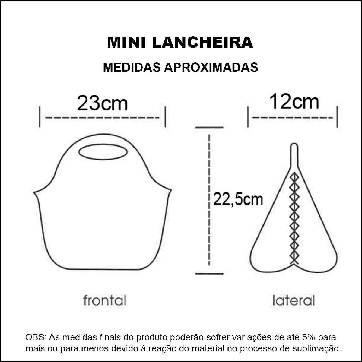 Medidas Mini Lancheira Personalizada