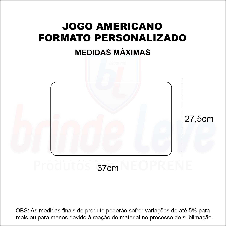 Medidas Jogo Americano Formato Personalizado