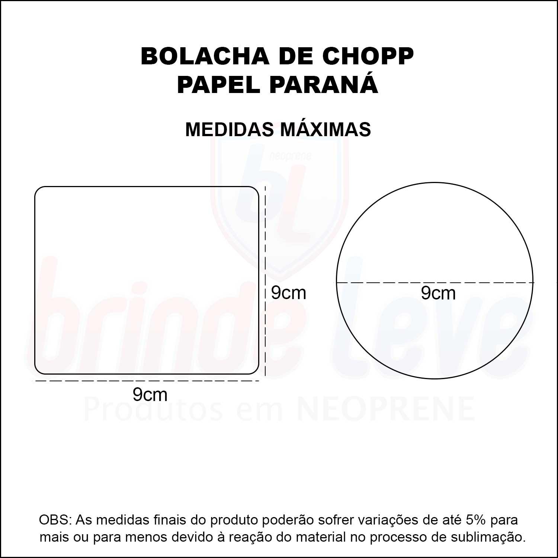 Medidas Bolacha de Chopp em Papel Paraná Personalizada