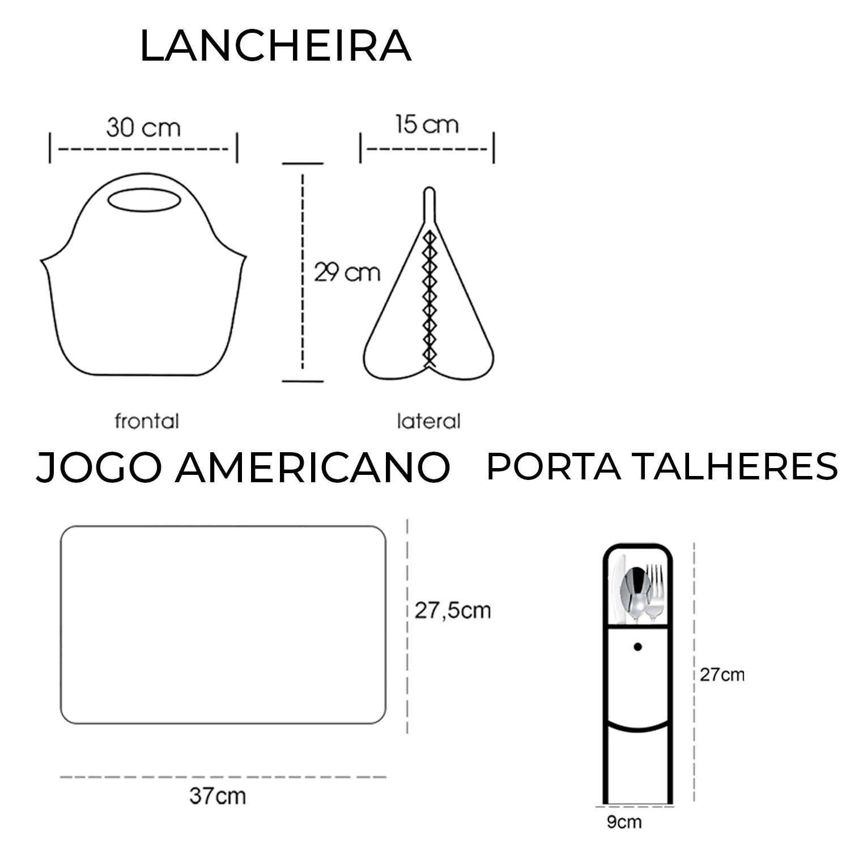 Medidas Kit Lancheira + Porta Talher + Jogo Americano